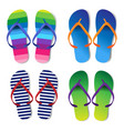 summer colorful flip flops set vector image vector image