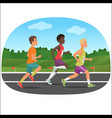 three young sport man running outdoor jogging vector image vector image