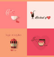 Valentines day greeting card design with set of vector image vector image