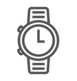 watch line icon clock and time starp sign vector image vector image