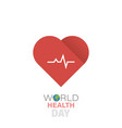 world health day and cardiogram icon vector image vector image