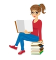 young female student sitting on stack of books vector image vector image