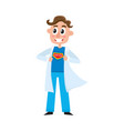 young male doctor showing superhero sign on chest vector image vector image
