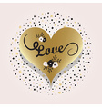 Golden heart symbol and love typography icon vector image