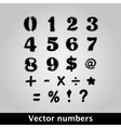 Thorny black symbols and numbers vector image