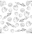 hand drawn vegetables pattern seamless background vector image