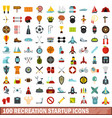 100 recreation startup icons set flat style vector image vector image