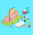 3d isometric flat concept online school vector image vector image