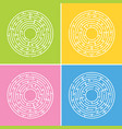 abstract round maze a set of four labyrinths an vector image