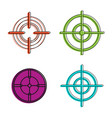 aim icon set color outline style vector image vector image