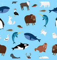 arctic animals pattern winter ocean and snow vector image