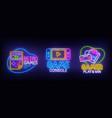 big set neon billboard retro games gamer vector image