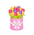 bouquet of tulips in box vector image vector image