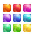 cartoon colorful square glossy buttons set vector image vector image