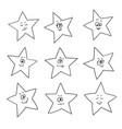 cartoon faces emotions set of festive fun stars vector image vector image