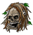 cartoon jamaican wild skull with dreadlocks vector image vector image