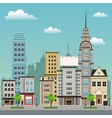 city street buildings tree design vector image vector image