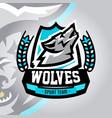 colorful logo emblem a wolf howling at moon vector image vector image