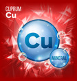 cu cuprum mineral blue pill icon vitamin vector image vector image