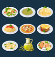 different food from italian cuisine pasta pizza vector image vector image
