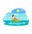 donut ride watersport activity boy in water vector image