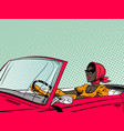 fashionable afro american woman driving cabriolet vector image