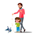 father with young child feeding birds vector image vector image