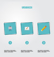 flat icons pen screen stand elements set vector image vector image