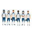 flat school american football young guys vector image