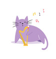 funny cat playing harp vector image vector image