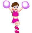 funny cheerleading cartoon action with smiling vector image vector image