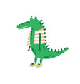 funny childish crocodile in shoes and vest vector image