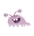 Funny Smiling Germ Purple Character with Big Eyes vector image