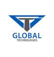 global techonologies initial letter gt tg logo vector image vector image