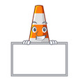 grinning with board traffic cone on road cartoon vector image