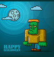 halloween full moon night card with frankenstein vector image vector image
