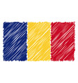hand drawn national flag of romania isolated on a vector image