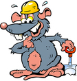 Hand-drawn of an Smiling Rat holding a Spade vector image vector image