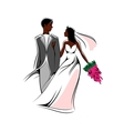 Happy young african bride and groom with flowers vector image vector image
