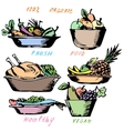 Healthy eating Vegetables fruits A hen vector image vector image