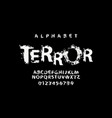 lettering terror and set white alphabet letters vector image