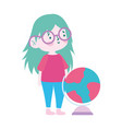 little student girl with globe map cartoon vector image