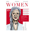 magazine cover with beautiful old lady portrait vector image