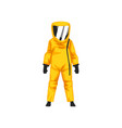 man in radiation protective suit and helmet vector image