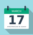 march 17 patricks day flat daily calendar vector image vector image