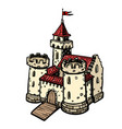 medieval castle fairy kingdom isolate on white vector image vector image