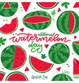 national watermelon day square card at white vector image