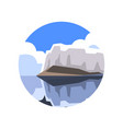 round icon of northern landscape with giant vector image vector image