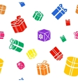 Seamless Gift pattern colored gift boxes on white vector image vector image