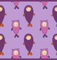 seamless pattern with magic cute fish girl vector image